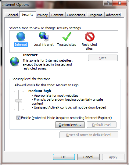 ie - security tab