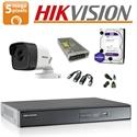 Imaginea Kit complet supraveghere Hikvision turboHD cu 1 camera de 5 Megapixel, HDD 1TB, accesorii - HIK5MP-1