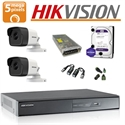 Imaginea Kit complet supraveghere Hikvision turboHD cu 2 camere de 5 Megapixel, HDD 1TB, accesorii - HIK5MP-2