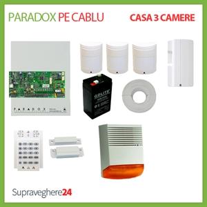 Imaginea Kit alarma pe cablu Paradox cu 3 PIR si 1 CM pentru Casa cu 3 camere