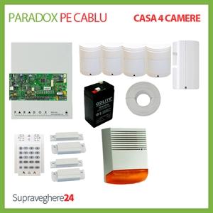 Imaginea Kit alarma pe cablu Paradox cu 4 PIR si 2 CM pentru Casa cu 4 camere