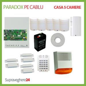Imaginea Kit alarma pe cablu Paradox cu 5 PIR si 3 CM pentru Casa cu 5 camere