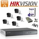 Imaginea Kit complet supraveghere Hikvision turboHD cu 5 camere de 5 Megapixel, HDD 1TB, accesorii - HIK5MP-5