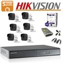 Imaginea Kit complet supraveghere Hikvision turboHD cu 6 camere de 5 Megapixel, HDD 1TB, accesorii - HIK5MP-6
