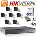 Imaginea Kit complet supraveghere Hikvision turboHD cu 7 camere de 5 Megapixel, HDD 1TB, accesorii - HIK5MP-7