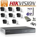 Imaginea Kit complet supraveghere Hikvision turboHD cu 8 camere de 5 Megapixel, HDD 1TB, accesorii - HIK5MP-8