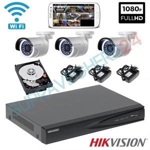 Imaginea Sistem supraveghere wireless cu 3 camere wifi cu microfon pentru exterior, 2MP 1080p , HDD 1TB , NVR , accesorii, configurare