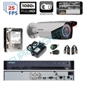 Imaginea Kit complet supraveghere parcare auto cu 1 camera Hikvision Full HD varifocal , IR 40m - include HDD 1TB, accesorii, configurare