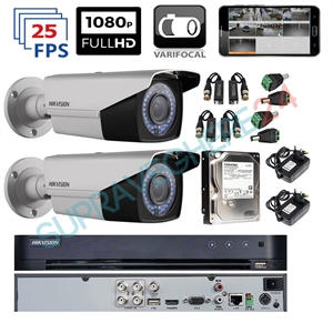Imaginea Kit complet supraveghere parcare auto cu 2 camere Hikvision Full HD varifocal , IR 40m - include HDD 1TB, accesorii, configurare