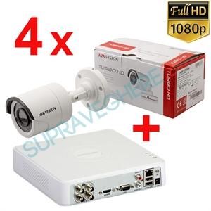 Imaginea Kit instalator supraveghere video Hikvision cu 4 camere 1080p IR 20m si DVR 4 canale FullHD