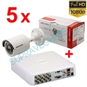 Imaginea Kit instalator supraveghere video Hikvision cu 5 camere 1080p IR 20m si DVR 8 canale FullHD