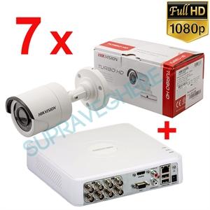Imaginea Kit instalator supraveghere video Hikvision cu 7 camere 1080p IR 20m si DVR 8 canale FullHD