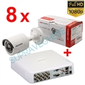 Imaginea Kit instalator supraveghere video Hikvision cu 8 camere 1080p IR 20m si DVR 8 canale FullHD