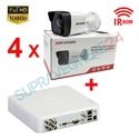 Imaginea Kit instalator supraveghere video Hikvision cu 4 camere 1080p IR 50m si DVR 4 canale FullHD