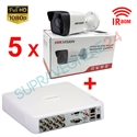 Imaginea Kit instalator supraveghere video Hikvision cu 5 camere 1080p IR 50m si DVR 8 canale FullHD