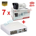 Imaginea Kit instalator supraveghere video Hikvision cu 7 camere 1080p IR 50m si DVR 8 canale FullHD