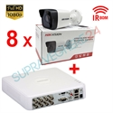Imaginea Kit instalator supraveghere video Hikvision cu 8 camere 1080p IR 50m si DVR 8 canale FullHD