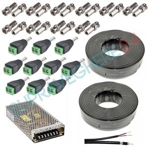 Imaginea Pachet accesorii sisteme supraveghere 6 - 10 camere cu sursa, cablu, conectori alimentare si BNC