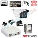 Imaginea Kit supraveghere exterior cu 1 camera Hikvision full HD 2 Megapixel, 1080p, IR EXIR 50m - include HDD 1TB, accesorii, configurare