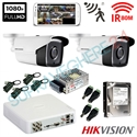 Imaginea Kit supraveghere exterior cu 2 camere Hikvision full HD 2 Megapixel, 1080p, IR EXIR 50m - include HDD 1TB, accesorii, configurare