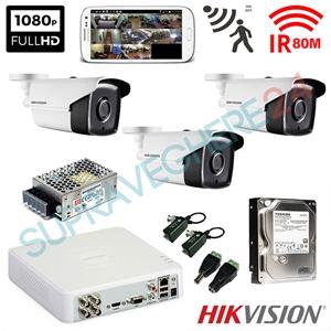 Imaginea Kit supraveghere exterior cu 3 camere Hikvision full HD 2 Megapixel, 1080p, IR EXIR 50m - include HDD 1TB, accesorii, configurare