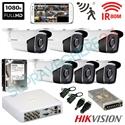 Imaginea Kit supraveghere exterior cu 6 camere Hikvision full HD 2 Megapixel, 1080p, IR EXIR 50m - include HDD 1TB, accesorii, configurare