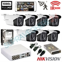 Imaginea Kit supraveghere exterior cu 7 camere Hikvision full HD 2 Megapixel, 1080p, IR EXIR 50m - include HDD 1TB, accesorii, configurare
