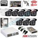 Imaginea Kit supraveghere exterior cu 8 camere Hikvision full HD 2 Megapixel, 1080p, IR EXIR 50m - include HDD 1TB, accesorii, configurare