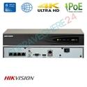 Imaginea NVR 4 canale PoE pentru 4 camere IP 4K UltraHD, 8MP/camera, ONVIF, H265, Hikvision 7604NI-K1/4P