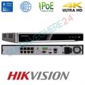 Imaginea NVR 8 canale PoE pentru 8 camere IP 4K UltraHD, 8MP/camera, 2xHDD, ONVIF, H265, Hikvision 7608NI-K2/8P