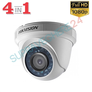 Imaginea Camera Dome 4 in 1 TVI CVI AHD CVBS, 2 Megapixel, 1080p, IR 20m, Hikvision TurboHD DS-2CE56D0T-IRPF