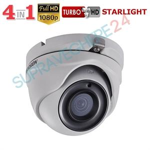 Imaginea Camera dome de exterior STARLIGHT, 4 in 1 TVI CVI AHD CVBS, 1080p, IR 20m, Hikvision DS-2CE56D8T-ITMF
