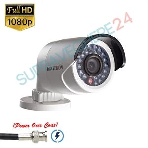 Imaginea Camera de exterior cu PoC (alimentare prin cablu date), HDTVI 1080p, IR 20m, carcasa metalica, Hikvision DS-2CE16D0T-IRE