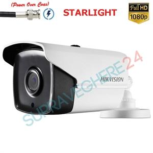 Imaginea Camera Exterior cu PoC (alimentare prin cablu date), STARLIGHT (color noaptea), TVI 1080p, IR 40m, Hikvision DS-2CE16D8T-IT3E
