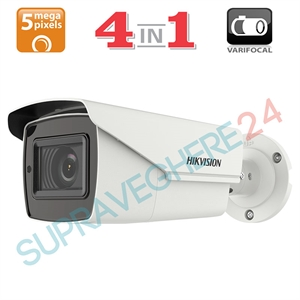 Imaginea Camera Exterior 4 in 1 TVI CVI AHD CVBS, lentila varifocala motorizata, 5MP UltraHD, IR Exir 40m, Hikvision DS-2CE16H0T-IT3ZF