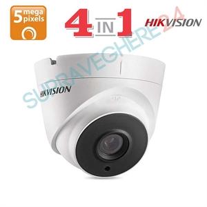 Imaginea Camera Dome 4 in 1 TVI CVI AHD CVBS, 5 megapixel Ultra HD, IR Exir 20m, Hikvision DS-2CE56H0T-ITMF