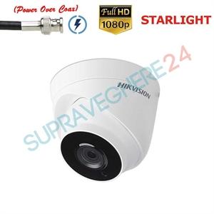 Imaginea Camera dome cu PoC (alimentare prin cablu date), STARLIGHT (color noatea), zoom motorizat, FullHD, IR 40m EXIR, Hikvision DS-2CE56D8T-IT3ZE