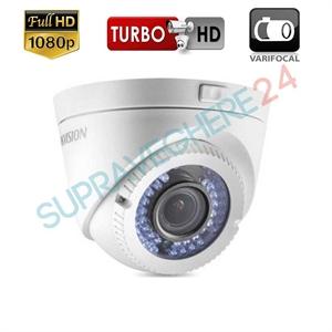Imaginea Camera dome FullHD, lentila varifocala, 4 in 1 TVI CVI AHD CVBS, 1080p, IR 40m, Hikvision DS-2CE56D0T-VFIR3F