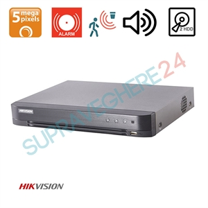 Imaginea DVR TurboHD 4 canale 5 Megapixel, 5 in 1 TVI CVI AHD CVBS IP, 4x Audio, 4x Alarma, 2x slot HDD, Hikvision DS-7204HUHI-K2