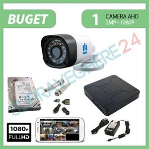 Imaginea Kit supraveghere video complet cu 1 camera FullHD, 2 megapixel, HDD 1TB, DVR, accesorii, configurare inclusa