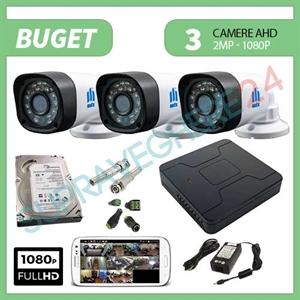 Imaginea Kit supraveghere video complet cu 3 camere FullHD, 2 megapixel, HDD 1TB, DVR, accesorii, configurare inclusa