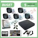 Imaginea Kit supraveghere video complet cu 5 camere FullHD, 2 megapixel, HDD 1TB, DVR, accesorii, configurare inclusa