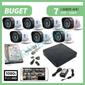 Imaginea Kit supraveghere video complet cu 7 camere FullHD, 2 megapixel, HDD 1TB, DVR, accesorii, configurare inclusa