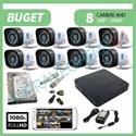 Imaginea Kit supraveghere video complet cu 8 camere FullHD, 2 megapixel, HDD 1TB, DVR, accesorii, configurare inclusa