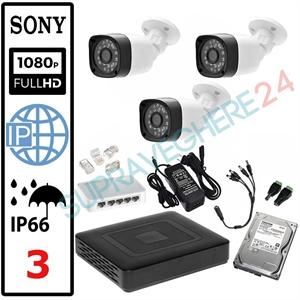 Imaginea Kit Supraveghere IP complet cu 3 Camere FullHD 2 Megapixel, NVR, HDD 1TB, Switch, Accesorii, Configurare inclusa