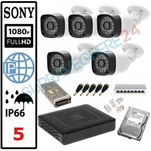 Imaginea Kit Supraveghere IP complet cu 5 Camere FullHD 2 Megapixel, NVR, HDD 1TB, Switch, Accesorii, Configurare inclusa