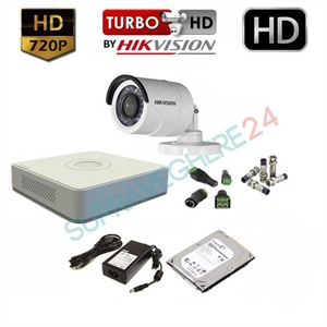 Imaginea Kit supraveghere video complet Hikvision cu 1 camera HD 720p, HDD 1TB, accesorii, configurare inclusa