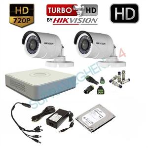 Imaginea Kit supraveghere video complet Hikvision cu 2 camere HD 720p, HDD 1TB, accesorii, configurare inclusa