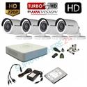 Imaginea Kit supraveghere video complet Hikvision cu 4 camere HD 720p, HDD 1TB, accesorii, configurare inclusa