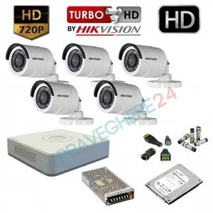 Imaginea Kit supraveghere video complet Hikvision cu 5 camere HD 720p, HDD 1TB, accesorii, configurare inclusa